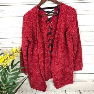 Torrid Red Plush Knit Long Sleeve Sweater - Y3
